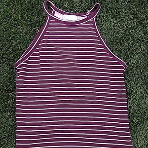 Burgundy striped fitted tank
